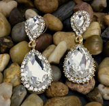 Crystal Long Teardrop Earrings, Gold | Fashion Jewellery Outlet