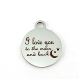 I love you to the moon and back Engraved Charm | Fashion Jewellery Outlet