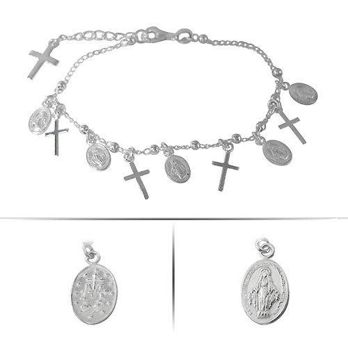 Sterling Silver Religious Charm Bracelet | Fashion Jewellery Outlet