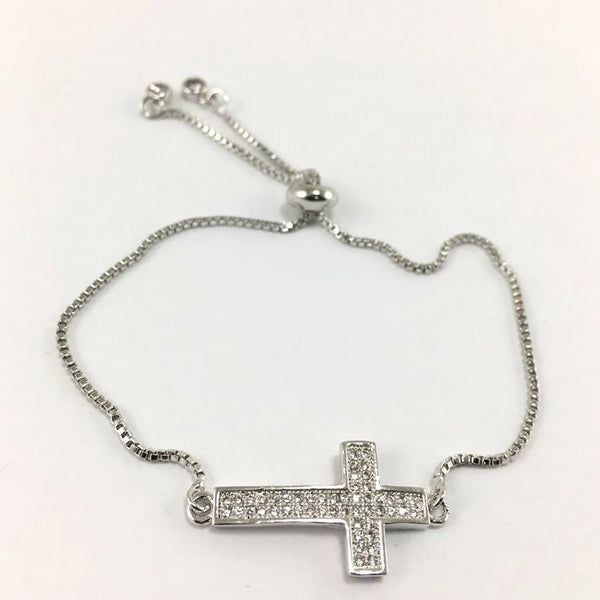 Cross Adjustable CZ Pave Bracelet | Fashion Jewellery Outlet