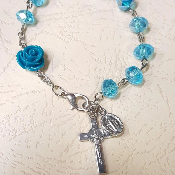 Glass Bead Rose Rosary Bracelet | Fashion Jewellery Outlet