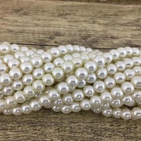 4mm Faux Glass Pearls, Ivory | Fashion Jewellery Outlet
