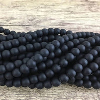 6mm Frosted Black Agate Bead | Fashion Jewellery Outlet