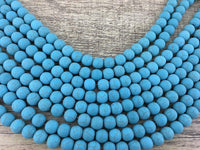 6mm Frosted Blue Howlite Bead | Fashion Jewellery Outlet