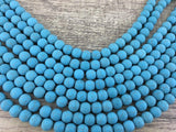 4mm Frosted Blue Howlite Bead | Fashion Jewellery Outlet