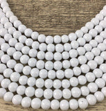 8mm Faux Glass Pearl Bead, Solid Chalk White | Fashion Jewellery Outlet