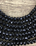 10mm Faceted Roundel Glass Bead, Jet Black | Fashion Jewellery Outlet
