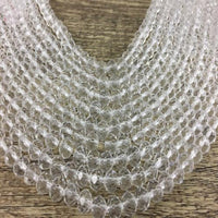 8mm Clear Faceted Rondelle Glass Bead | Fashion Jewellery Outlet