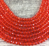 6mm Faceted Rondelle Glass Bead, Orange | Fashion Jewellery Outlet