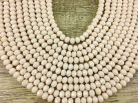 8mm Faceted Rondelle Glass Bead, Bone Color | Fashion Jewellery Outlet