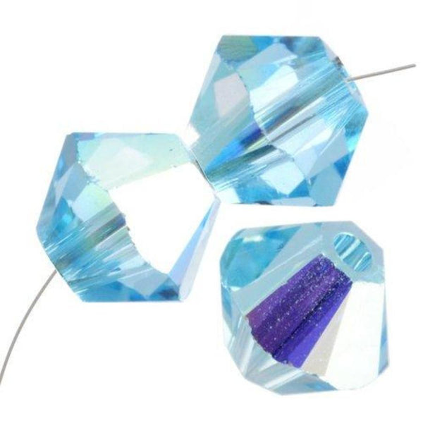 6mm Swarovski Bicone Aquamarine AB, 5328 | Fashion Jewellery Outlet
