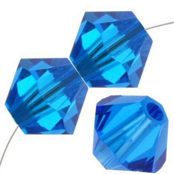 4mm Swarovski Bicone Capri Blue, 5328 | Fashion Jewellery Outlet