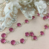 Swarovski Channel Chain, Silver with Pink Stones, SS29 | Fashion Jewellery Outlet