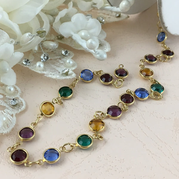 Swarovski Chain, Gold with Multi Color Stones, SS29 | Fashion Jewellery Outlet