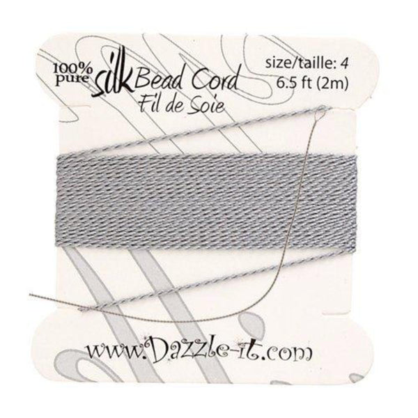 Silk Thread with 0.60mm Needle, Grey | Fashion Jewellery Outlet