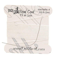 Silk Thread with 0.60mm Needle, White | Fashion Jewellery Outlet