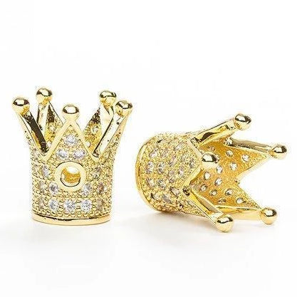 CZ Micro Pave Gold Crown Bead | Fashion Jewellery Outlet