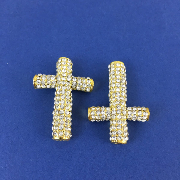 Alloy Connector, Gold Cross Round Bead | Fashion Jewellery Outlet