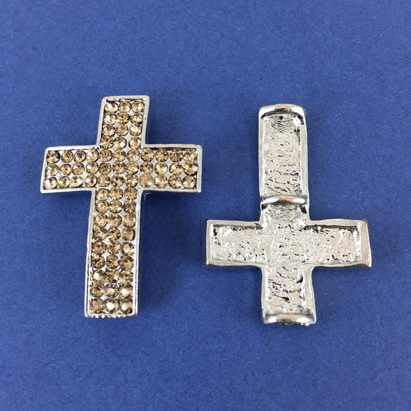 Alloy Connector, Gold Cross three Row Stones | Fashion Jewellery Outlet