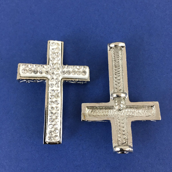 Alloy Connector, White Cross Two Row Stones | Fashion Jewellery Outlet