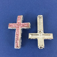 Alloy Connector, Pink Cross Two Row Stone | Fashion Jewellery Outlet
