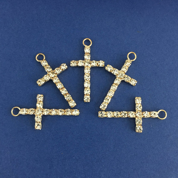 Alloy Charm, One Row Rhinestone Gold Cross | Fashion Jewellery Outlet