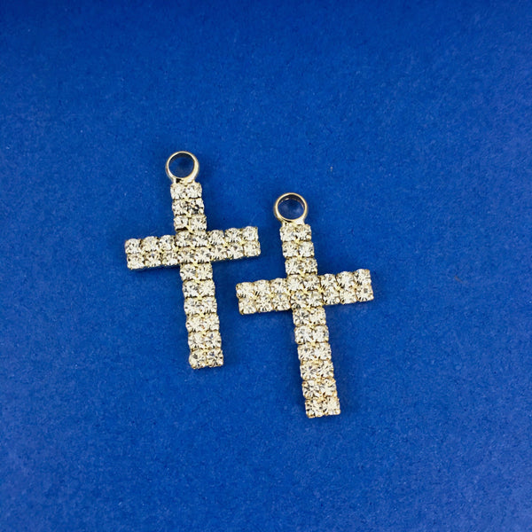 Alloy Charm, Two Row Small Rhinestone Gold Cross