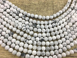 6mm Frosted White Howlite Bead | Fashion Jewellery Outlet