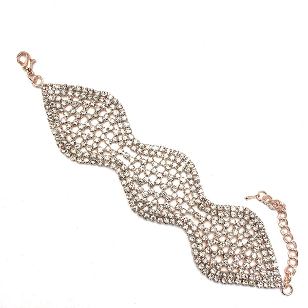 Rhinestone Bracelet, Gold | Fashion Jewellery Outlet