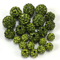 10mm Olivine Green Shamballa Bead | Fashion Jewellery Outlet
