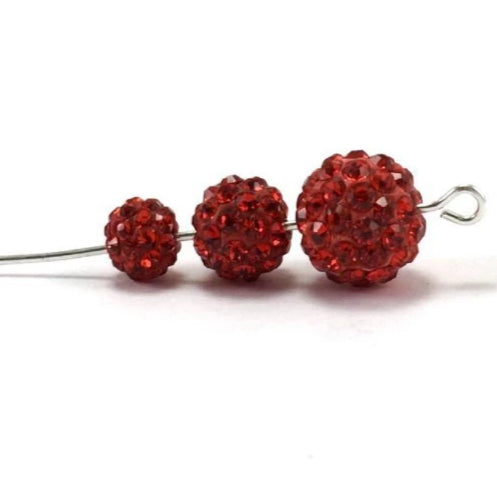 6mm Siam Red Shamballa Bead | Fashion Jewellery Outlet