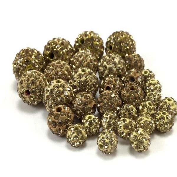 6mm Dull Gold Shamballa Bead | Fashion Jewellery Outlet