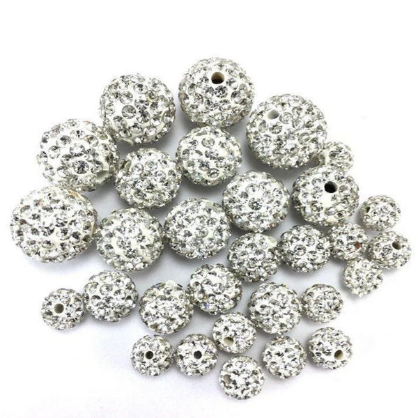 10mm Crystal Clear Shamballa Bead | Fashion Jewellery Outlet