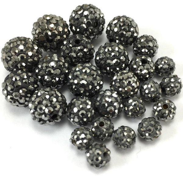 10mm Dark Grey Shamballa Bead | Fashion Jewellery Outlet