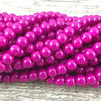 8mm Glass Pearl Bead, Solid Fuchsia | Fashion Jewellery Outlet