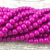 10mm Glass Pearl Bead, Solid Fuchsia | Fashion Jewellery Outlet