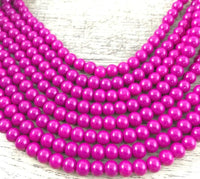 12mm Glass Pearl Bead, Solid Fuchsia | Fashion Jewellery Outlet