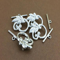Alloy Leaf Toggle Charm, Silver Plated Toggle | Fashion Jewellery Outlet