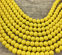 12mm Glass Pearl Bead, Solid Yellow | Fashion Jewellery Outlet