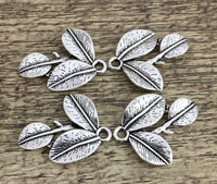 Alloy Silver Charm, 25mm Three Leaf Charm | Fashion Jewellery Outlet