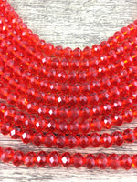 8mm Faceted Rondelle Glass Bead, Light Siam Red | Fashion Jewellery Outlet