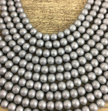 8mm Faux Glass Pearl Matte Finish, Solid Grey | Fashion Jewellery Outlet