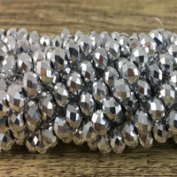 8mm Faceted Rondelle Glass Bead  Silver Grey | Fashion Jewellery Outlet