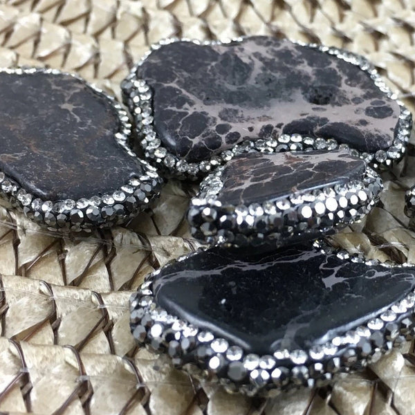 Black Agate Druzzy Bead, Pave Agate Bead | Fashion Jewellery Outlet
