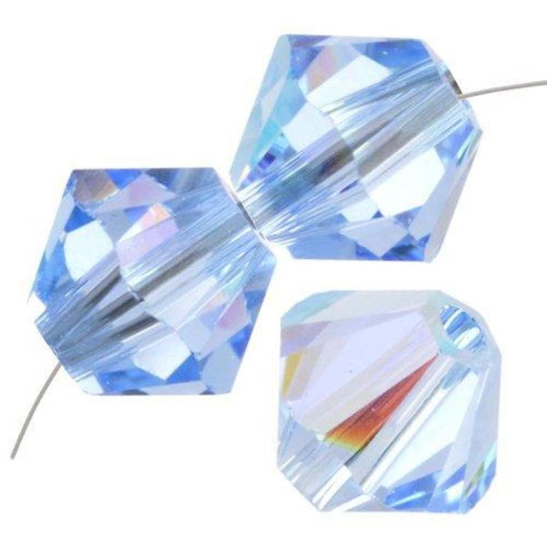 8mm Swarovski Bicone Bead Light Sapphire AB, 5328 | Fashion Jewellery Outlet