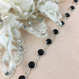 Swarovski Chain, Silver with Jet Black Stones, SS29 | Fashion Jewellery Outlet