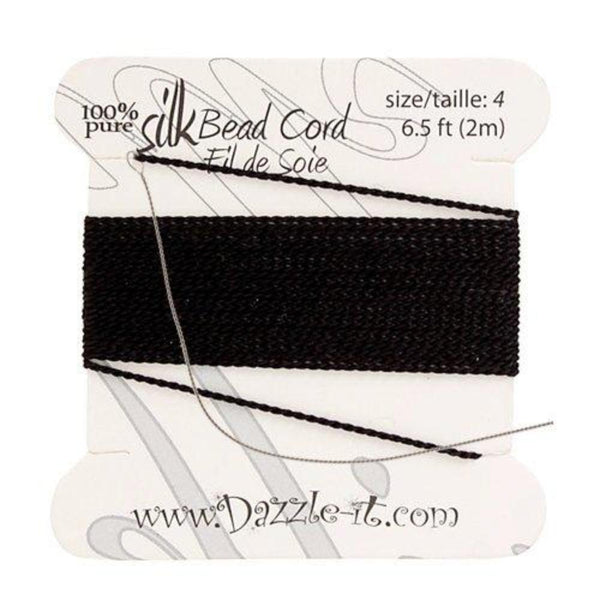 Silk Thread with 0.60mm Needle, Black | Fashion Jewellery Outlet