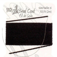 Silk Thread with 0.70mm Needle, Black | Fashion Jewellery Outlet