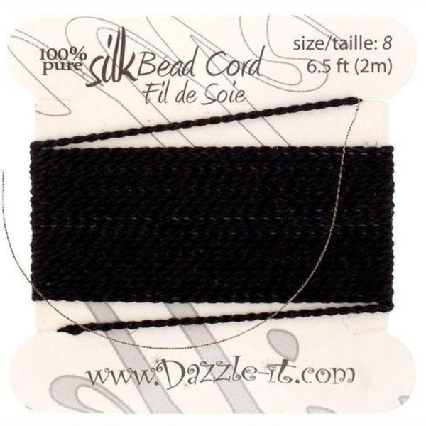 Silk Thread with 0.80mm Needle, Black | Fashion Jewellery Outlet