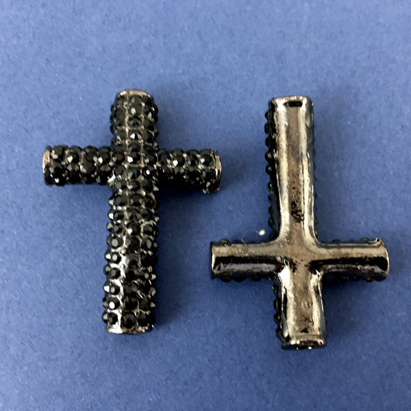 Alloy Connector, Black Cross Round Bead | Fashion Jewellery Outlet